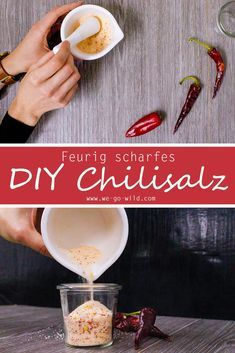 Make chilli salt yourself: great recipe Recipe to easily make spicy seasoned salt. If you have enough chilli oil at home, you will certainly love the homemade salt. The DIY chili salt tastes great and Chili Recipes, Crockpot Recipes, Fresco, Dried Chillies, Diy Food, Great Recipes, Cookie Recipes, Easy Meals, Food And Drink