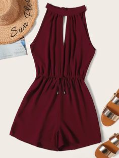 Product name: Drawstring Waist Cut Out Tie Back Playsuit at SHEIN, Category: Jumpsuits Girls Fashion Clothes, Teen Fashion Outfits, Outfits For Teens, Girl Fashion, Summer Outfits, Girl Outfits, Fashion Dresses, Clothes For Women, Lace Romper