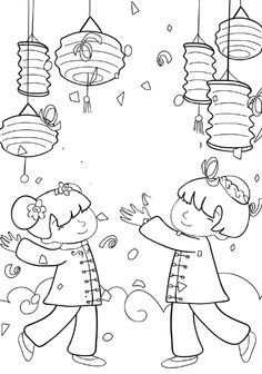 Kids Celebrate Chinese New Year Colouring Pages