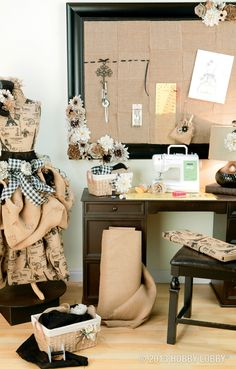 Basket, burlap and floral accents in earthy hues give warmth and texture to this office space.