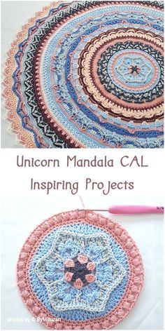 Crochet Unicorn Mandala CAL - Inspiring Projects Mandalas are extremely popular projects. They have a very large decorative potential so we crochet them very often. Below are some examples that will prove to you how beautiful mandalas can look like. Mandala Yarn, Mandala Blanket, Crochet Mandala Pattern, Afghan Crochet Patterns, Knitting Patterns, Crochet Afghans, Crochet Square Blanket, Crochet Stitches, Crochet Blankets
