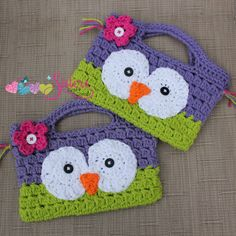 Girly Owl Purse Bag Handbag, Small Crochet Handbag, Child Size, Little Girls, Pink Purple, Party Bag #sistercraftcorner