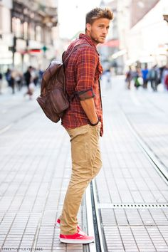 backpack man's fashion fall 2013 #streetstyle #men #fashion #attire #mensfashion #man #outfit #fashion #style #mensfashion #inspiration #handsome #modern #cool #casual
