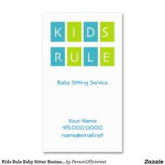 Kids Rule Baby Sitter Business Cards