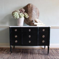 French Ebonised Breakfront Commode with Marble Top, Louis XVI style, c 1940s