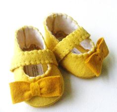 Yellow Felt Baby Booties Soft Shoe with by ShesSoCraftyGoods1, $27.00