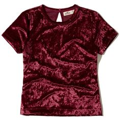 Hollister Velvet Baby T-Shirt ($15) ❤ liked on Polyvore featuring tops, t-shirts, burgundy, velvet top, red tee, red top, red crop tee and burgundy crop top