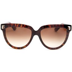 Valentino Rockstud cat-eye frame sunglasses (4,190 MXN) ❤ liked on Polyvore featuring accessories, eyewear, sunglasses, tortoiseshell, tortoise cat eye glasses, cateye sunglasses, cateye glasses, tortoiseshell sunglasses e brown gradient sunglasses