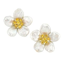 Pair of Gold, Mother-of-Pearl and Yellow Sapphire Flower Earclips, Seaman Schepps