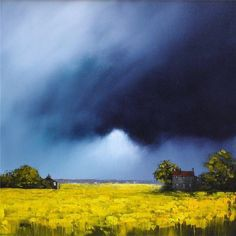 Barry Hilton stormy skies and yellow fields Landscape Photos, Landscape Art, Landscape Paintings, Sky Painting, Yellow Painting, Watercolor Landscape, Watercolor Paintings, Yellow Fields, Art Oil