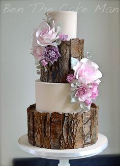 Rustic bark wedding cake|ben the cake man
