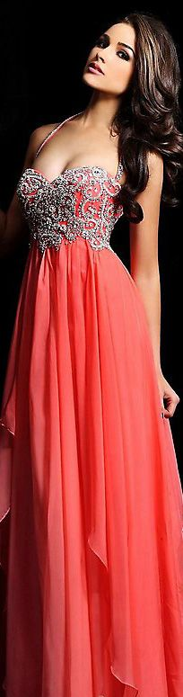 Sherri Hill Coral Embellished Gown