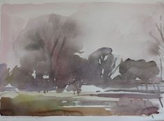 January at the Habitat Restoration Area, watercolour, Rebecca Ryland