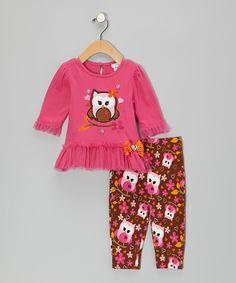 Pink Owl Dress & Leggings