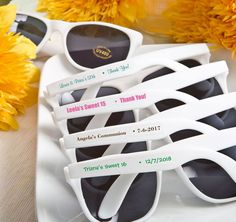 7544c07a04 White Personalized Sunglass Favors will be a hit at your next event! Keep  guest looking