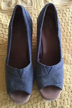 TOMS Women's Chambray Cork Wedge Peep Toe Sandals Shoes SZ-9.5  | eBay