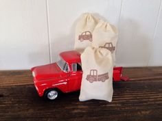 Truck Muslin Favor Bag Boy Birthday Party Vintage Baby Gift Bag Stamped Set of 10 on Etsy, $15.00