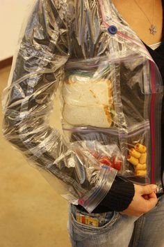 Ziploc bag jacket full of snacks... not sure if this is weird or brilliant.