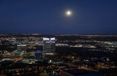 Full moon on a clear night in downtown Fort Worth
