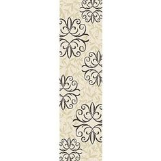 Orian Iron Fleur Runner Rug THE BLACK AND WHITE ONE FOR KITCHEN UNDER SINK