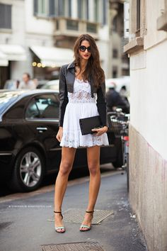 Caroline's Mode _ Lace Dress + leather biker jacket #streetstyle http://FashionCognoscente.blogspot.com