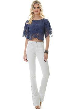Blusa Cropped de Jeans com Renda - lojacaos