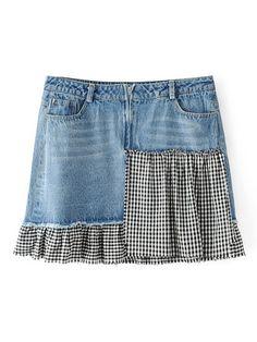 Kontrast kratkę spódnica denim