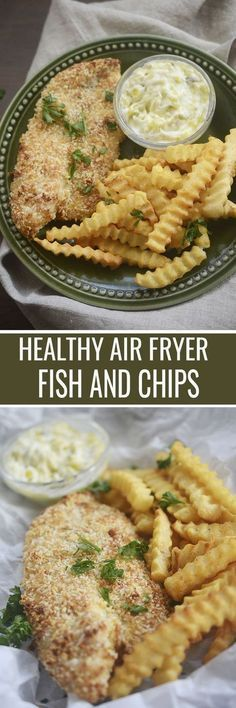 air fryer recipes: Healthy Air Fryer Fish and Chips - Recipe Diaries . Recipe For Fish And Chips, Chips Recipe, Fish Recipes, Seafood Recipes, Healthy Recipes, Yummy Recipes, Skinny Recipes, Healthy Foods, Trout