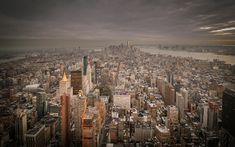 Download wallpapers New York, Manhattan, Empire State Building, World Trade Center 1, skyscrapers, cityscape, evening, USA
