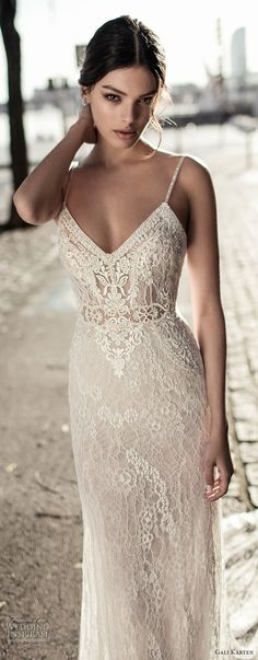 gali karten 2017 bridal spaghetti strap v neck full embellishment elegant sheath wedding dress open back chapel train (6) zv -- Gali Karten 2017 Wedding Dresses