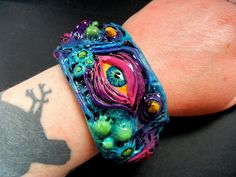 Neon Alien polymer clay cuff bracelet by *dogzillalives on deviantART