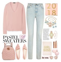 """""""the queen new year 👑👡👕👖😙"""" by licethfashion ❤ liked on Polyvore featuring Theory, Sophia Webster, Gucci, Kate Spade, Love Is, Charlotte Tilbury, Fendi and pastelsweaters"""