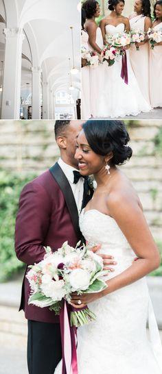 An Urban Wedding With a Pretty Pop of Burgundy!