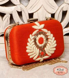 Red Clutch with chain by Klick by RG | Jivaana.com