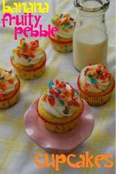Banana fruity pebble cupcakes... This one has the recipe to follow :)