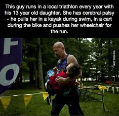 This guy runs in a local triathlon every year with his 13-year-old daughter.