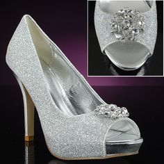 MYLIE-SILVER by LAVA: Customizable decorated prom shoes! Silver sparkly peep-toe pumps can be decorated with one of 65+ exclusive decorations. YOU choose the style! Design your own prom shoes. $54.95 http://www.promshoes.com/silver-prom-shoes/lava/mylie-silver-pk-7737# #promshoes #partyshoes #sparklyshoes