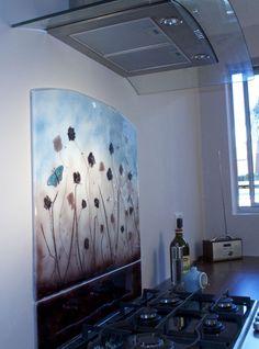 Field of Flowers handmade bespoke glass splashback with dichroic butterfly