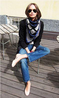 Parisian chic: Hermes silk scarf, fitted blazer, boyfriend jean, ballet flat, aviator glasses