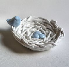 Nest eggs and bird....Handmade polymer clay sculpture by SkyeArt
