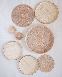 Jul 2019 - Product Details Set of 8 flat wall baskets - added lovely three-dimensional texture to a smooth wall surface with subtle, yet stylish, hand-woven baskets. Eco-friendly and ethically made by highly skilled artisans in Thailand. Baskets On Wall, Hanging Baskets, Woven Baskets, Decorative Wall Baskets, Picnic Baskets, Basket Weaving, Hand Weaving, Rattan, Wicker