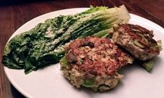 """Daileo Paleo: Avocado Chicken Burgers with Grilled Romaine Lettuce I am usually not a big fan of chicken burgers. The red meat carnivore inside me always says, """"no thanks."""" But these are different. The fresh avocado is mixed right into the ground chicken before cooking and the texture of two together just works. Seasoning is a must because chicken can tend to be a bit bland. I added a little diced onion and a touch of cumin for extra flavor."""