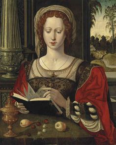 """""""Saint Mary Magdalene reading, at a table with fruit and a golden tazza. Workshop of The Master of the Parrot (active Antwerp Oil on panel. His portrayals of the Virgin and Child and Mary Magdalene, depicted as young aristocrats. Renaissance Kunst, Die Renaissance, Renaissance Paintings, Reading Art, Woman Reading, Maria Magdalena, Marie Madeleine, Art Graphique, Medieval Art"""