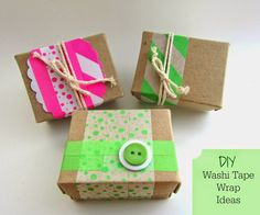 DIY Simple Gift Wrap Ideas: washi tape   gorgeous, fast and easy to make wrapping ideas for your Christmas and birthday gifts with washi tape!