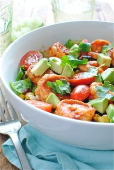 Chipotle Shrimp Salad Bowls - cut the spice  on the shrimp in half, and these are amazing