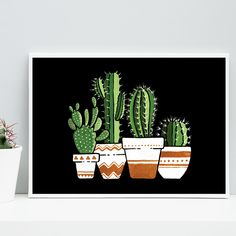 The Night Signed Art Print Boelter Design Co Cactus In The Night Signed Art Print Boelter Design CoCactus In The Night Signed Art Print Boelter Design CoIn The Nigh. Simple Canvas Paintings, Small Canvas Art, Mini Canvas Art, Cute Paintings, 3 Canvas Painting Ideas, Diy Canvas, Cactus Drawing, Cactus Painting, Cactus Art