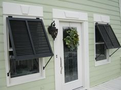 Complete Your Home Design With Bahama Shutters: Exterior Bahama Shutters Ideas With White Front Door And Scones Wall Ikea Canopy, Canopy Curtains, Diy Canopy, Fabric Canopy, Canopy Tent, Mosquito Curtains, Patio Curtains, Canopies, Hotel Canopy