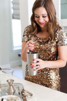 Sparkly gold dresses are perfect for a holiday engagement party!