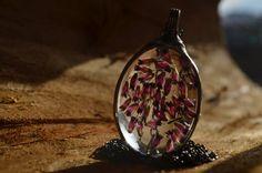 terrarium necklace real plants real heather by ZokaKurylov on Etsy