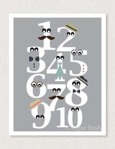 Not for Baby Girl, but so cute! Love the Mustache numbers the best! Numbers Nursery Art Print 'Mister Numbers' in by sugarfresh How To Make Notes, My New Room, Letters And Numbers, Nursery Art, Bedroom Art, Nursery Prints, Little Boys, Playroom, Kids Room